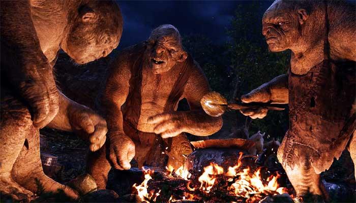 """Trolls comendo no filme """"O Hobbit: Uma Jornada Inesperada"""" (2012) - imagem: reprodução"""