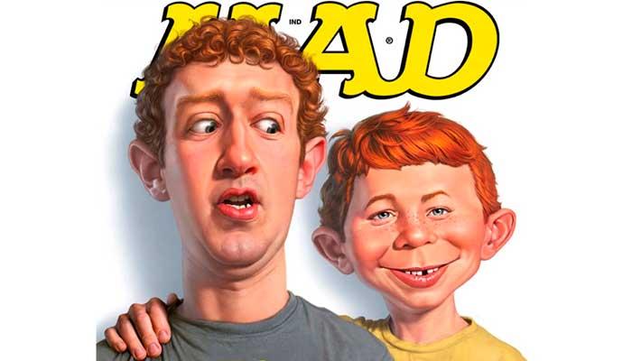 """A capa de junho de 2011 da edição americana da revista Mad já satirizava """"as 50 piores coisas do Facebook"""", muito antes das """"fake news"""" - Foto: reprodução"""