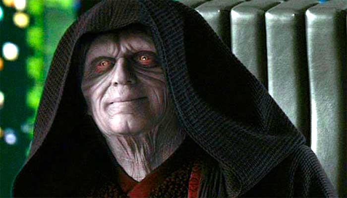 Darth Sidious, o imperador da saga Star Wars, que chegou ao poder após enganar e manipular aliados e inimigos – Foto: reprodução