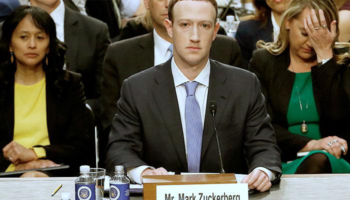 O fundador e CEO do Facebook, Mark Zuckerberg, durante depoimento no Congresso americano, em 2018